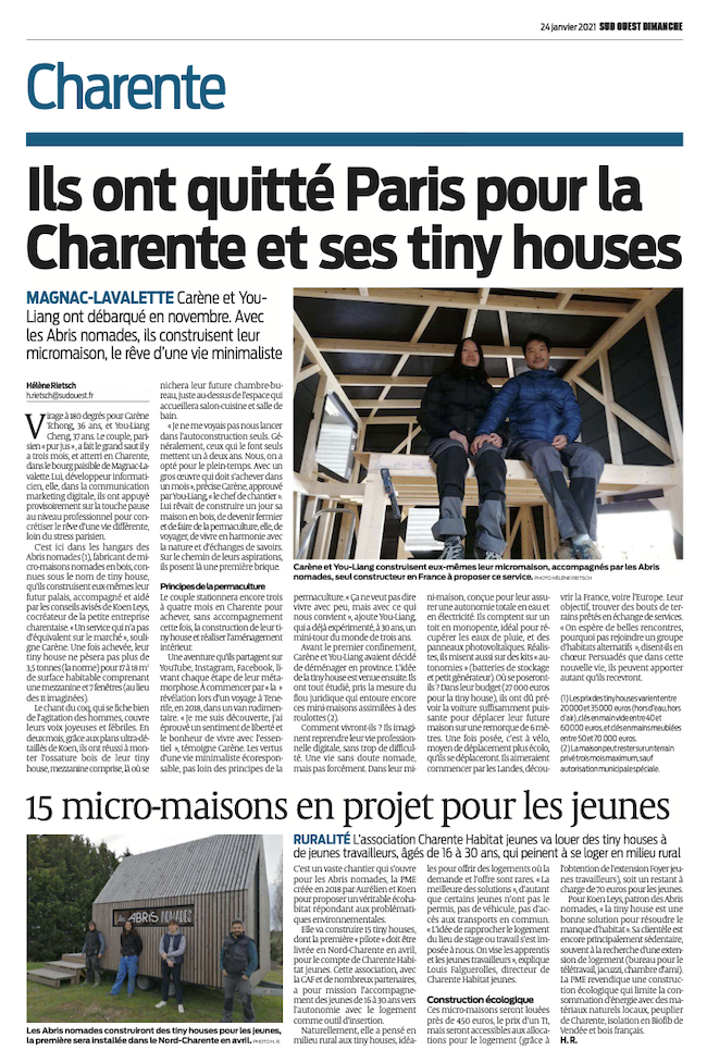 Sud Ouest - Article Tiny House
